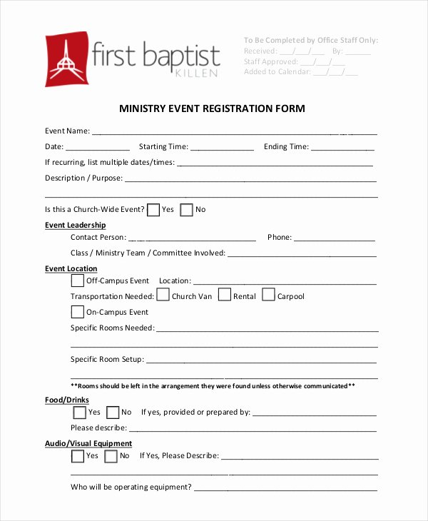 Church Registration form Elegant Church Conference Registration form Template Templates