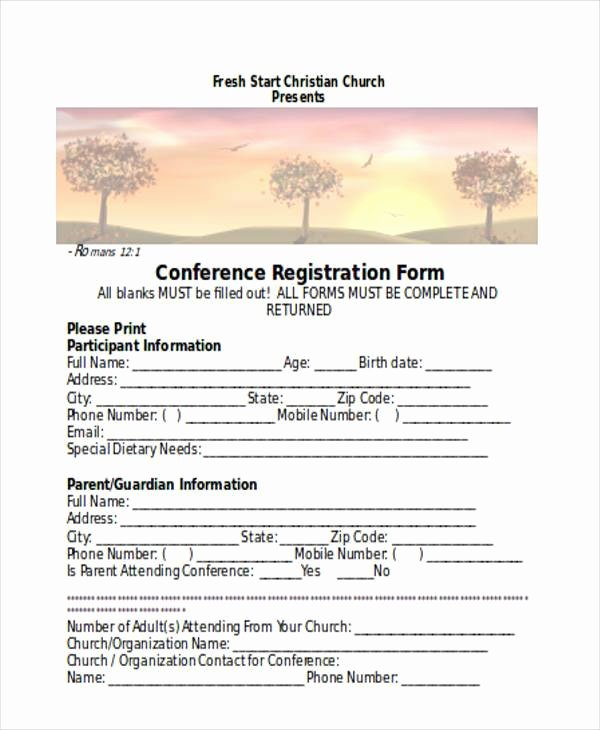 Church Registration form Fresh Registration forms In Word