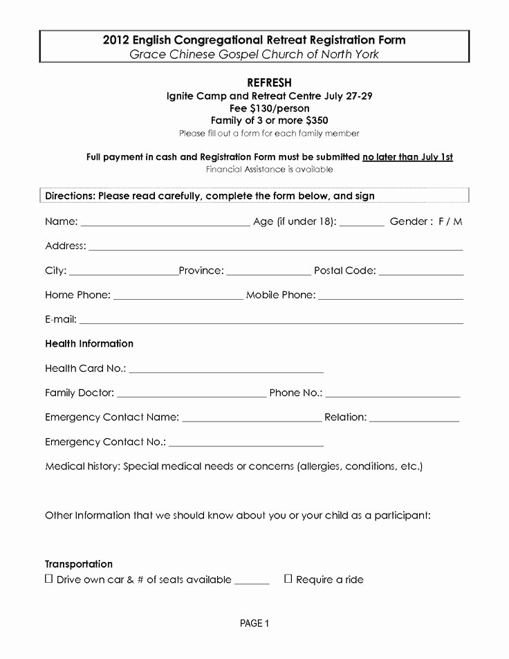 Church Registration form Fresh Retreat Registration forms