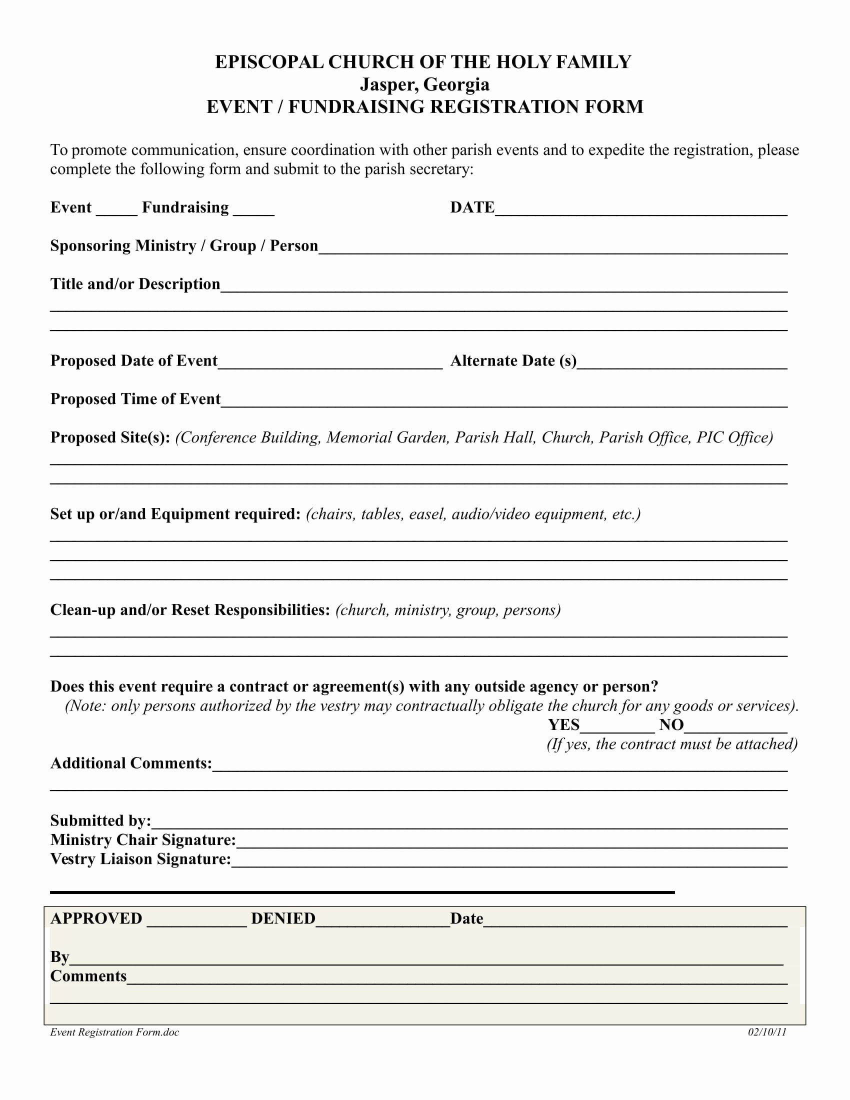 Church Registration form Luxury 10 event Registration form Samples