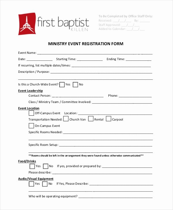 Church Registration form Luxury 12 Sample event Registration forms