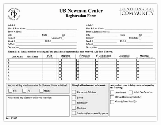 Church Registration form Luxury Catholic Campus Ministry at Ub since 1936 Newman Center