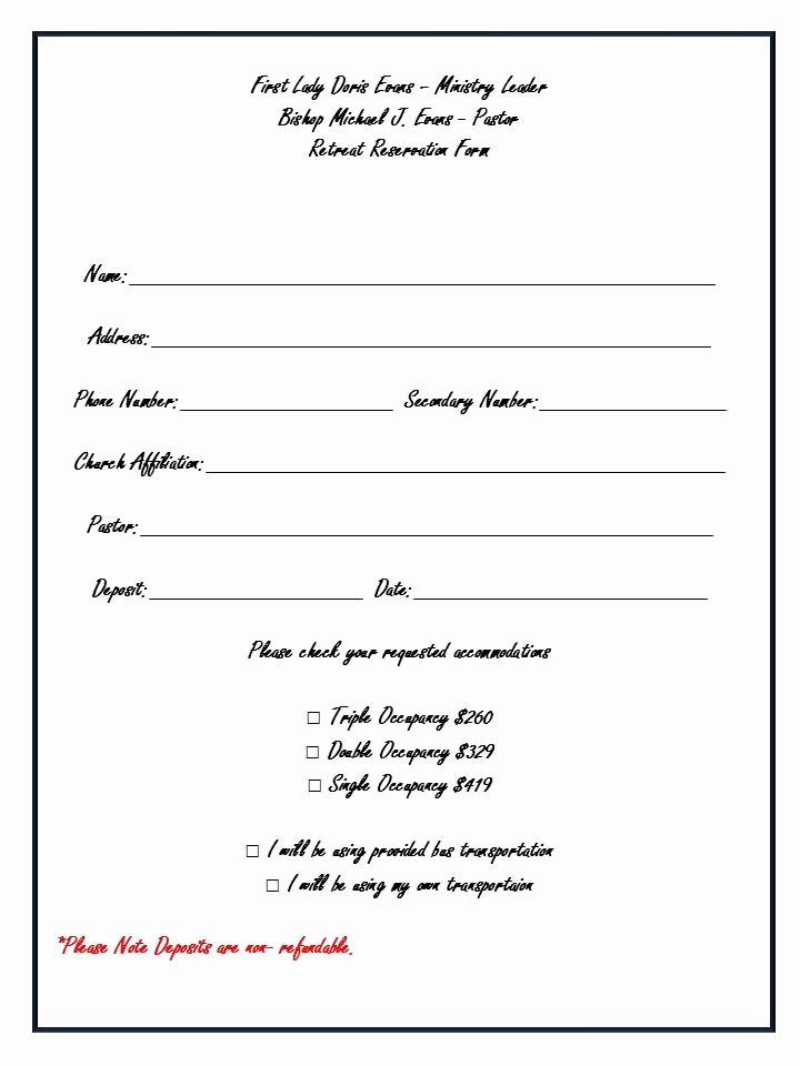 Church Registration form New Adonai Ministries