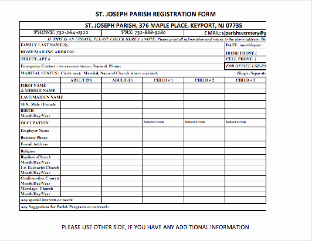 Church Registration form New Parish Registration form