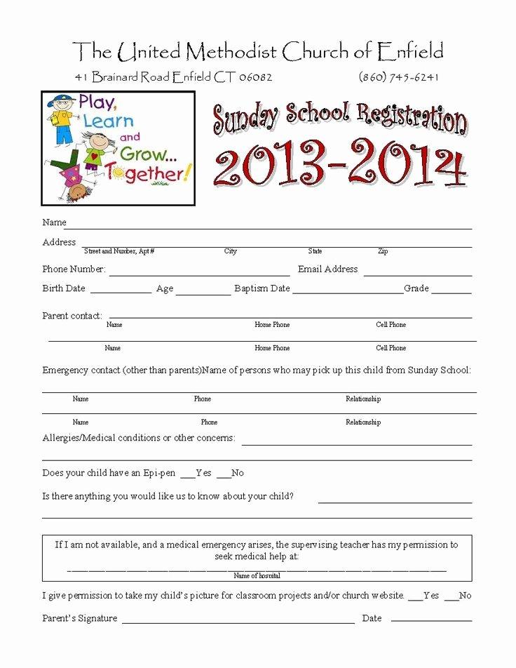 Church Registration form Unique Sunday School Registration form Biz Card