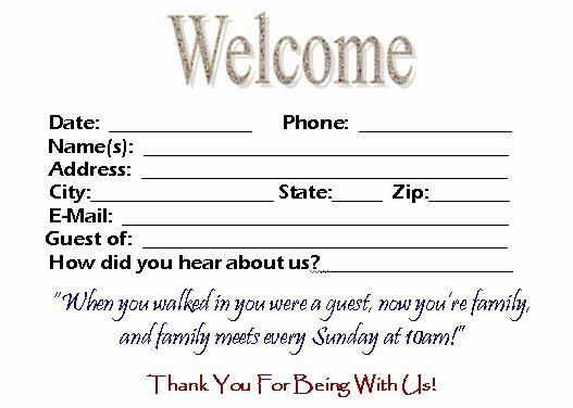 Church Visitor Card Template Word Beautiful Visitor Card Template You Can Customize