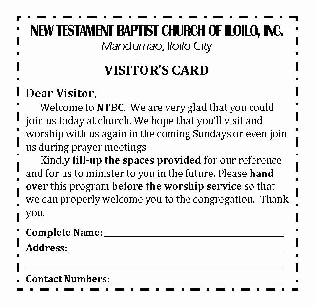 Church Visitor Card Template Word Best Of Ntbc forms