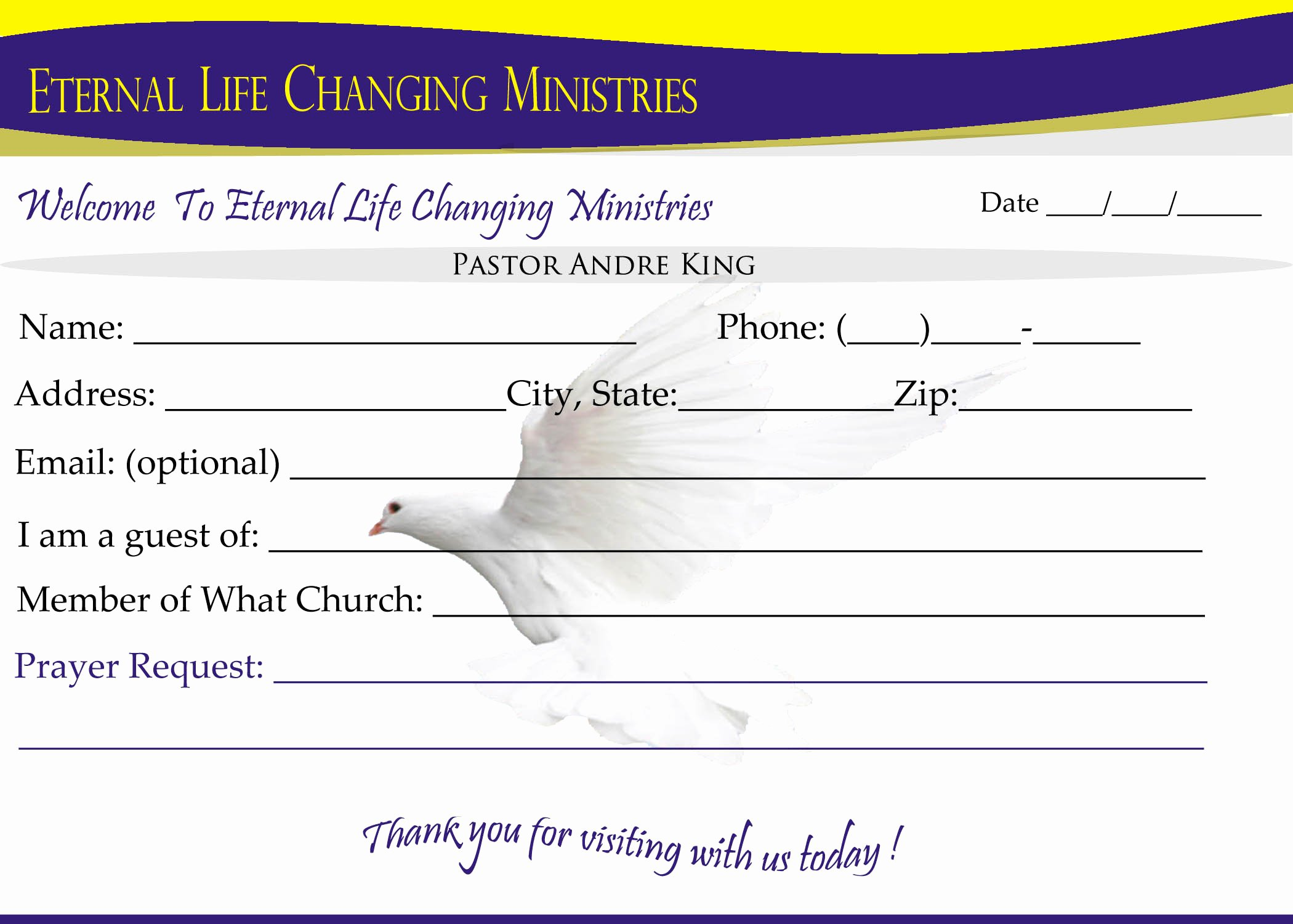 Church Visitor Card Template Word Elegant Ckd