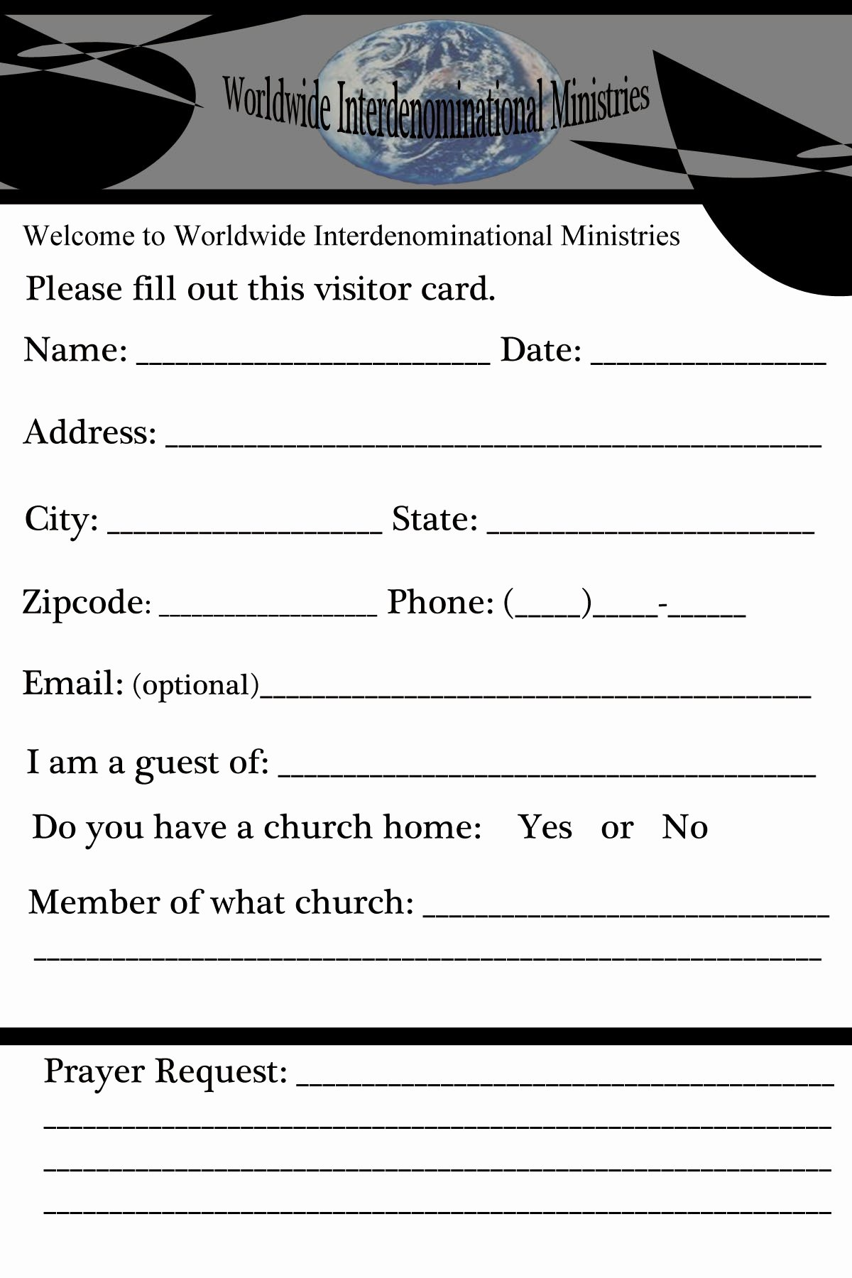 Church Visitor Card Template Word Fresh Our Portfolio