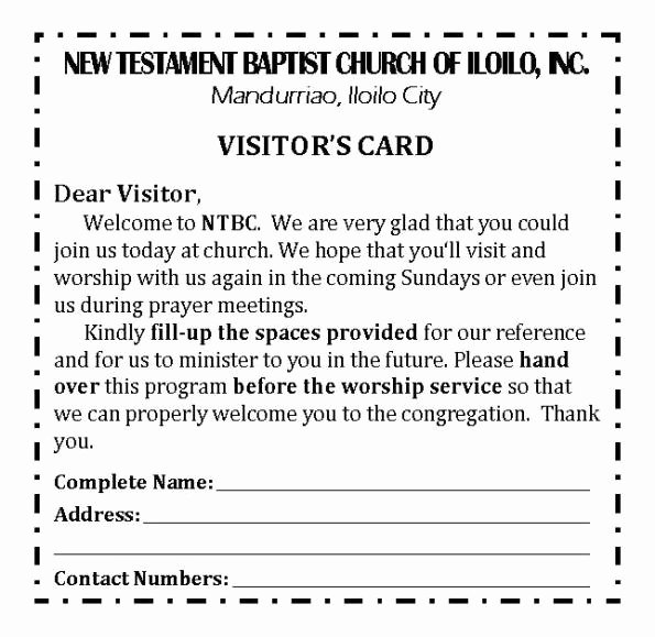 Church Visitor Card Template Word Luxury Ntbc forms
