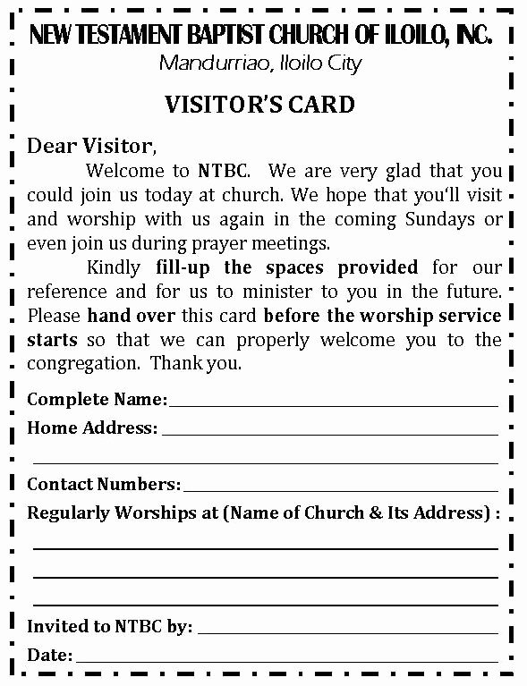 Church Visitor Card Template Word New Revised Visitor's Card