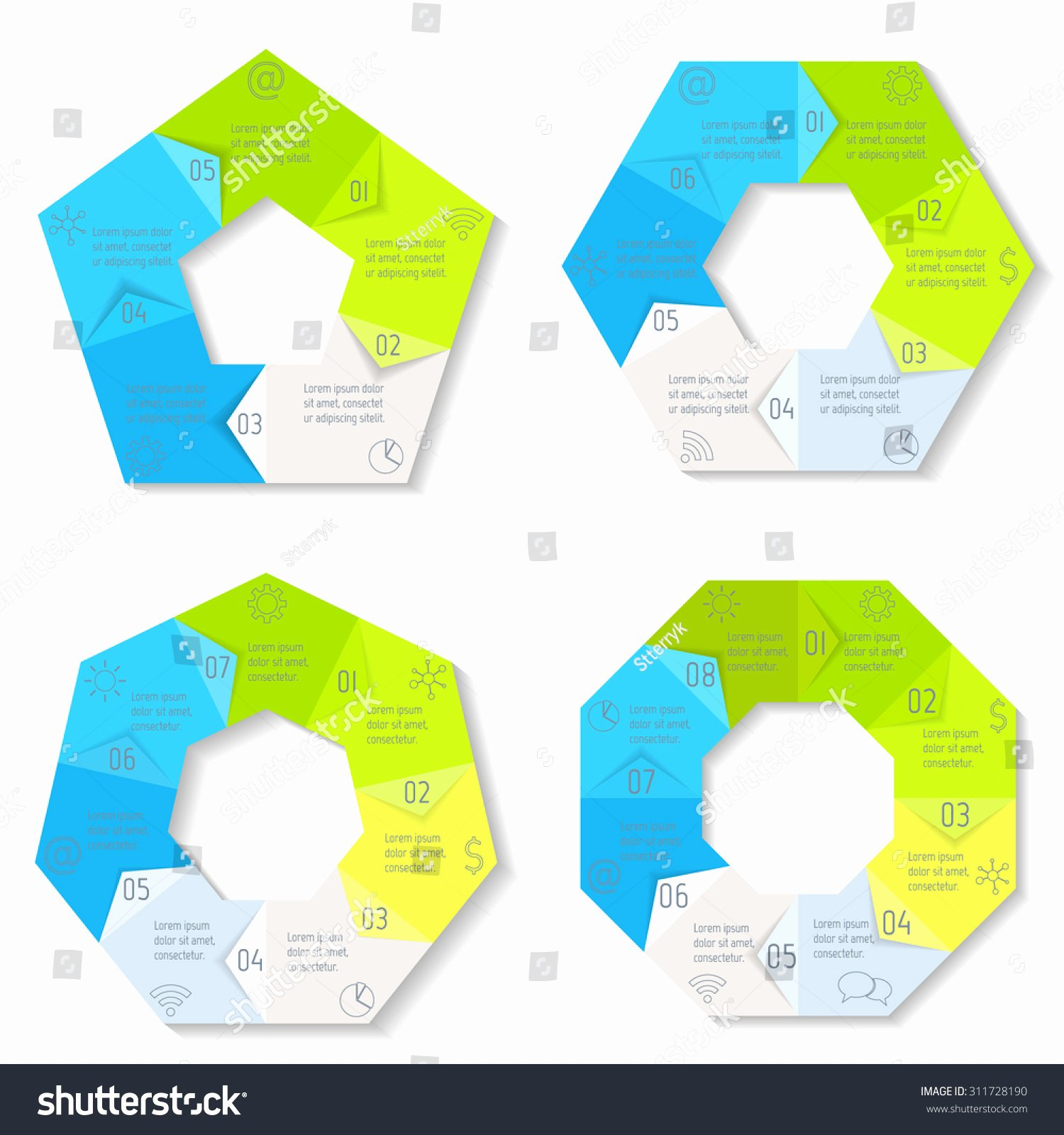 Circle Banner Template Inspirational Set Circle Infographic Design Templates 5678 Stock Vector