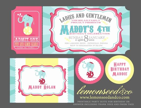 Circus Ticket Invitation Awesome Items Similar to Printable Diy Circus Birthday Circus