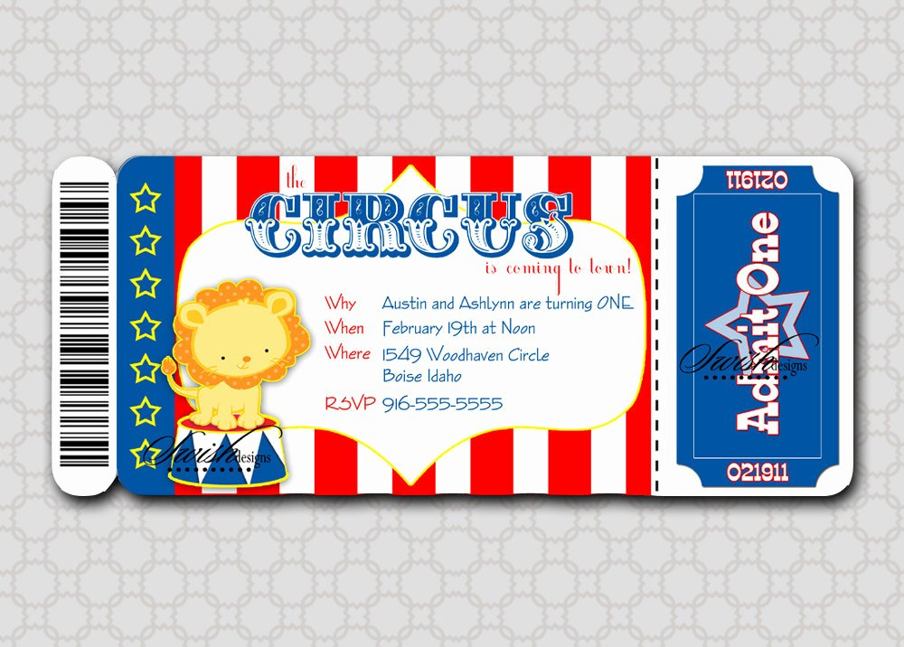 Circus Ticket Invitation Beautiful Circus Birthday Invitation Boarding Pass Invitation Ticket