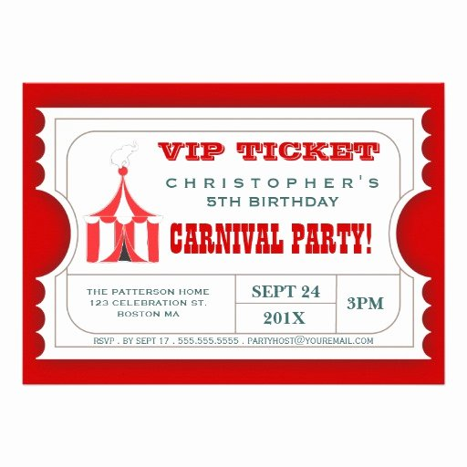 "Circus Ticket Invitation Elegant Circus Carnival Birthday Party Ticket Invitation 5"" X 7"