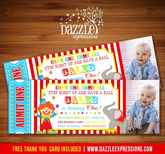 Circus Ticket Invitation Elegant Circus Ticket First Birthday Invitation Carnival