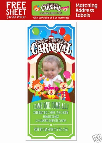 Circus Ticket Invitation Inspirational 6 Carnival Circus Clown Birthday Ticket Invitations
