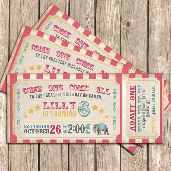 Circus Ticket Invitation Lovely Circus Birthday Invitation Girl Pink Circus Invitation