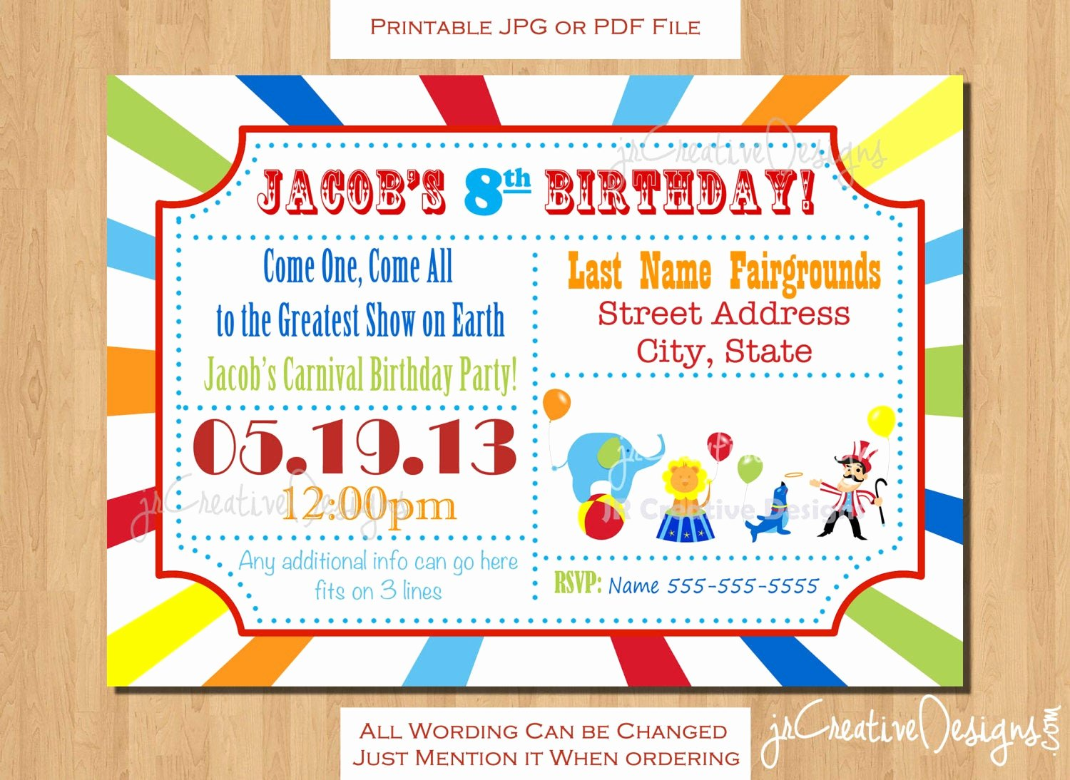 Circus Ticket Invitation Lovely Circus Invitation Carnival Invitation Circus Birthday