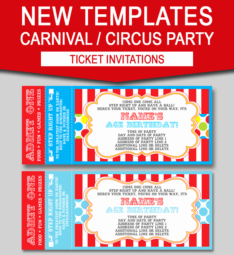 Circus Ticket Invitation Lovely Editable Carnival Ticket Invitations