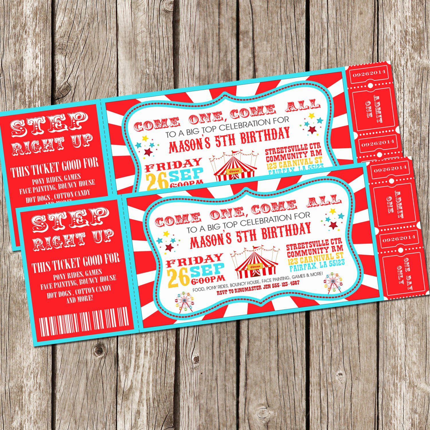 Circus Ticket Invitation Lovely Vintage Circus Carnival Invitation Ticket Invitation