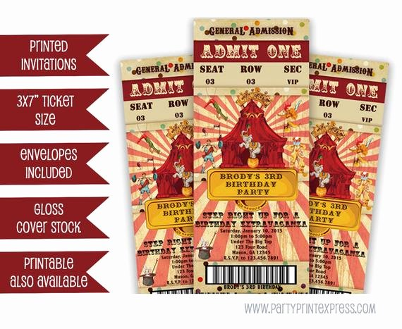 Circus Ticket Invitation Unique Vintage Circus Ticket Invitation Circus Invitation Circus