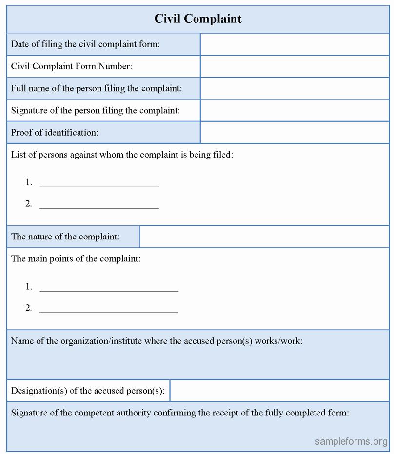 Civil Complaint form Template Beautiful Civil Plaint form Sample forms