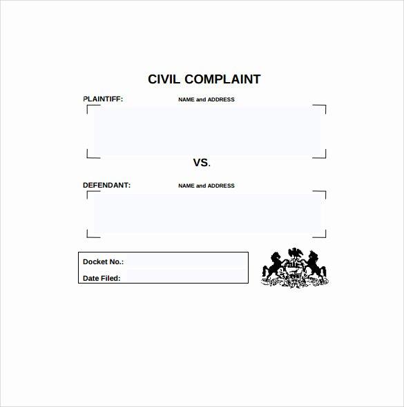 Civil Complaint form Template Elegant 8 Civil Plaint forms – Samples Examples & formats