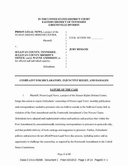 Civil Complaint form Template Lovely Prison Legal News V Sullivan County Plaint 2013