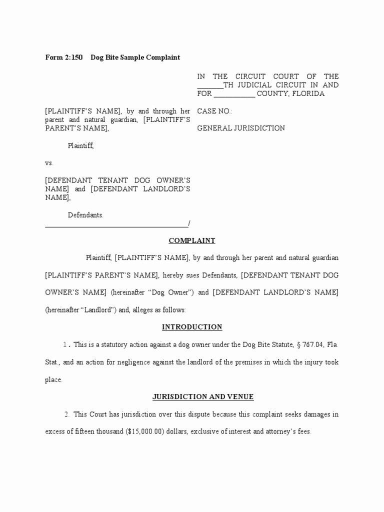 Civil Complaint form Template New Dog Bite Sample Plaint Damages