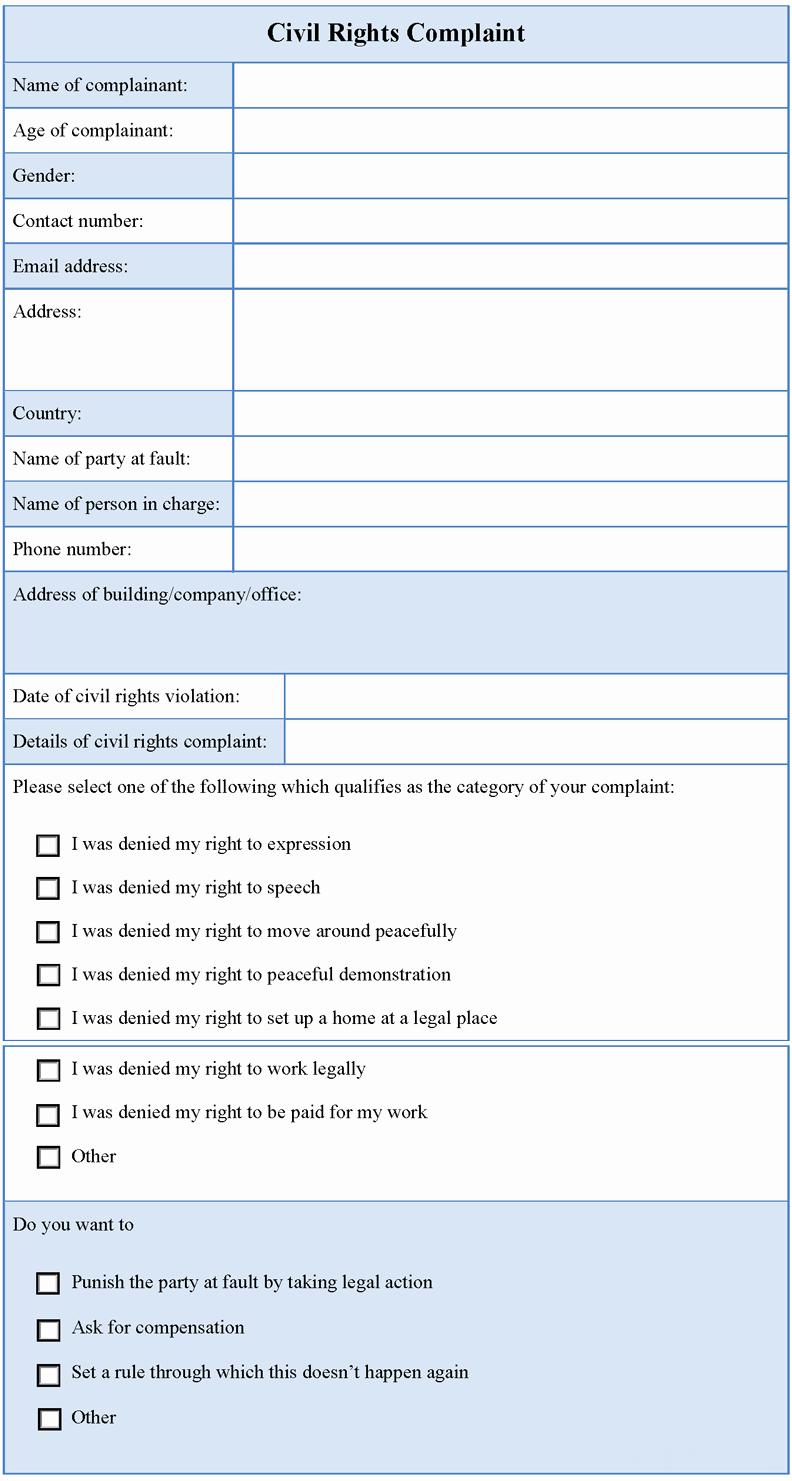 Civil Complaint form Template Unique Civil Rights Plaint form Sample forms