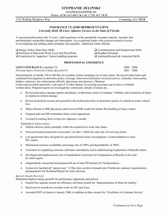 Claims Adjuster Resume Sample Awesome Claims Representative Resume Sample Samplebusinessresume