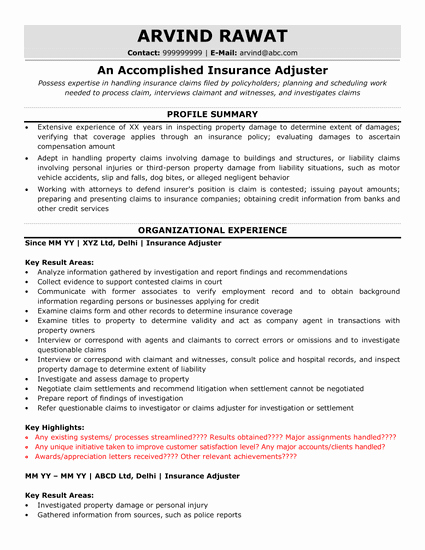 Claims Adjuster Resume Sample Beautiful Insurance Actuary Resume Sample & Ready to Use Example