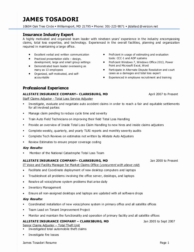 Claims Adjuster Resume Sample Elegant J tosadori Resume