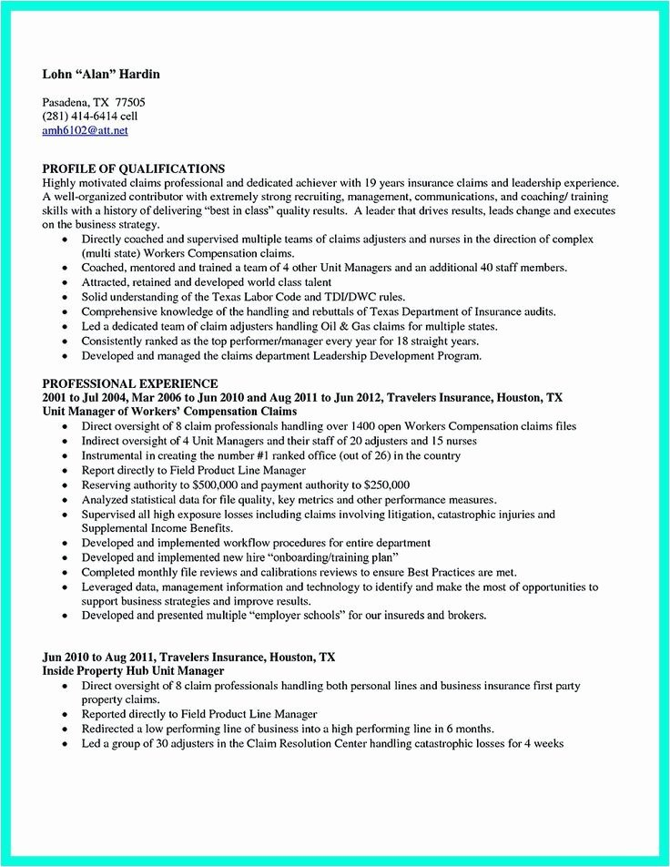 Claims Adjuster Resume Sample Inspirational 30 Insurance Adjuster Resume New Template