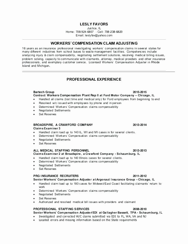 Claims Adjuster Resume Sample New 9 10 Insurance Adjuster Resume Example