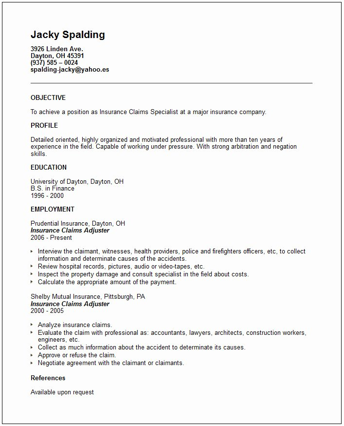 Claims Adjuster Resume Sample New Download some Samples Resume