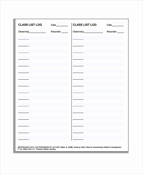 Class Roster Templates Awesome 8 Class List Templates