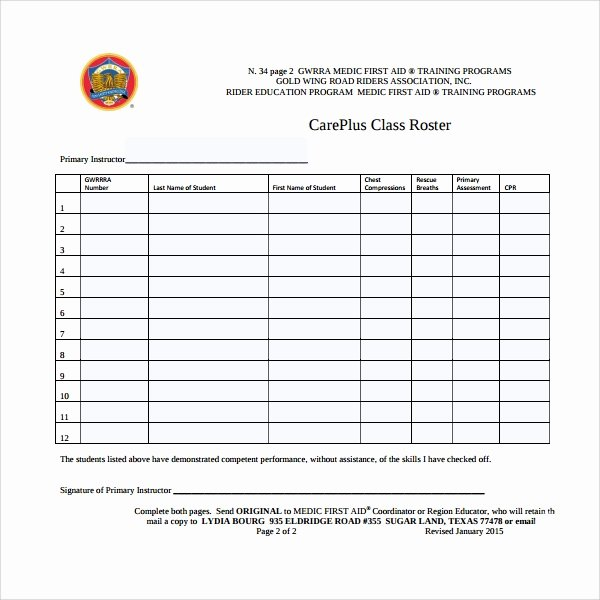 Class Roster Templates Best Of 8 Class Roster Templates
