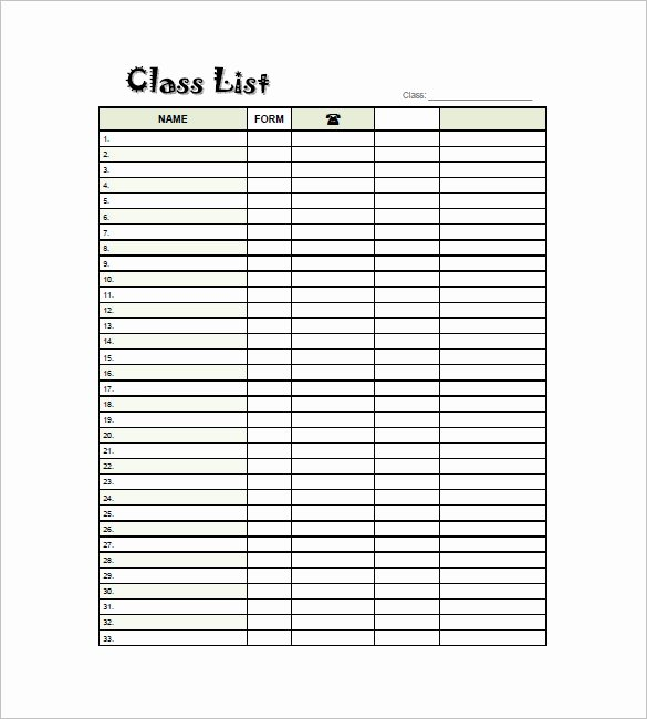 Class Roster Templates Best Of Class List Template 8 Free Sample Example format
