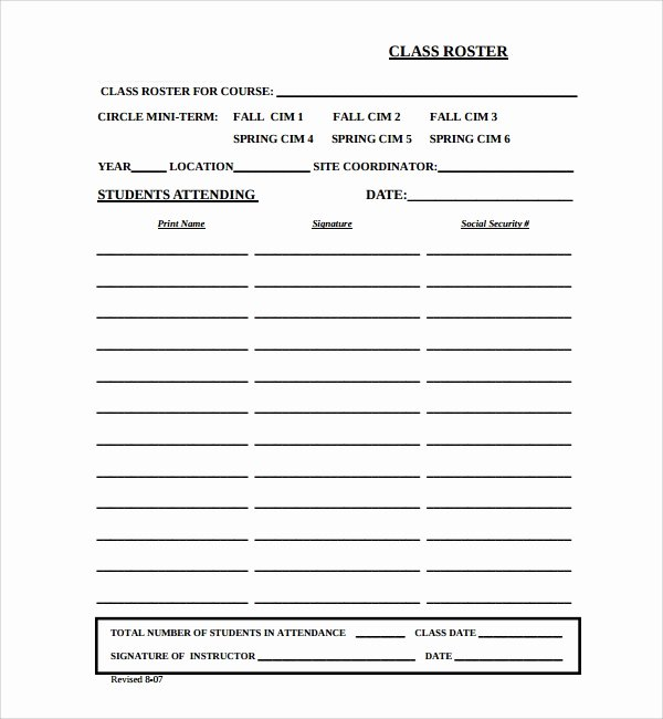 Class Roster Templates Lovely 8 Classroom Roster Templates