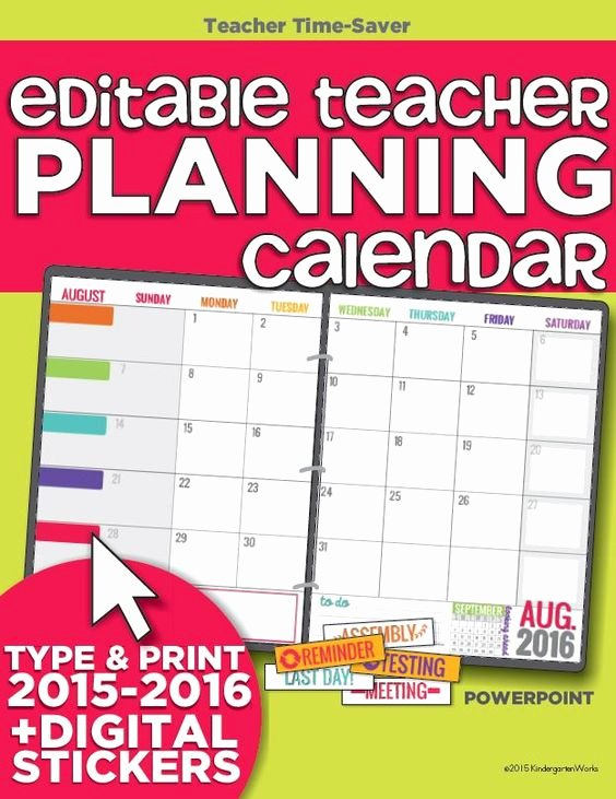 Classroom Calendar Template Awesome Teacher organization 5 Must Have Printables