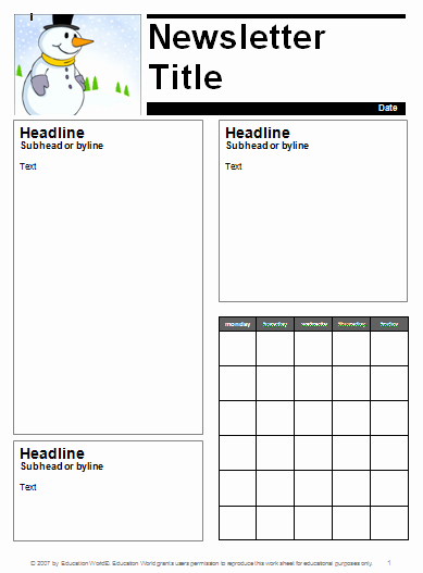 Classroom Calendar Template Beautiful Classroom Newsletter Template Printable Editable Word Pdf