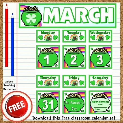 Classroom Calendar Template Best Of Free Printable March Classroom Calendar for School Teachers