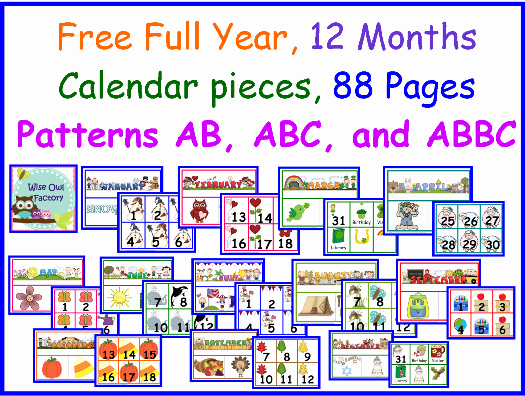 Classroom Calendar Template Inspirational Free Full Year Of Calendar Numbers and Headers
