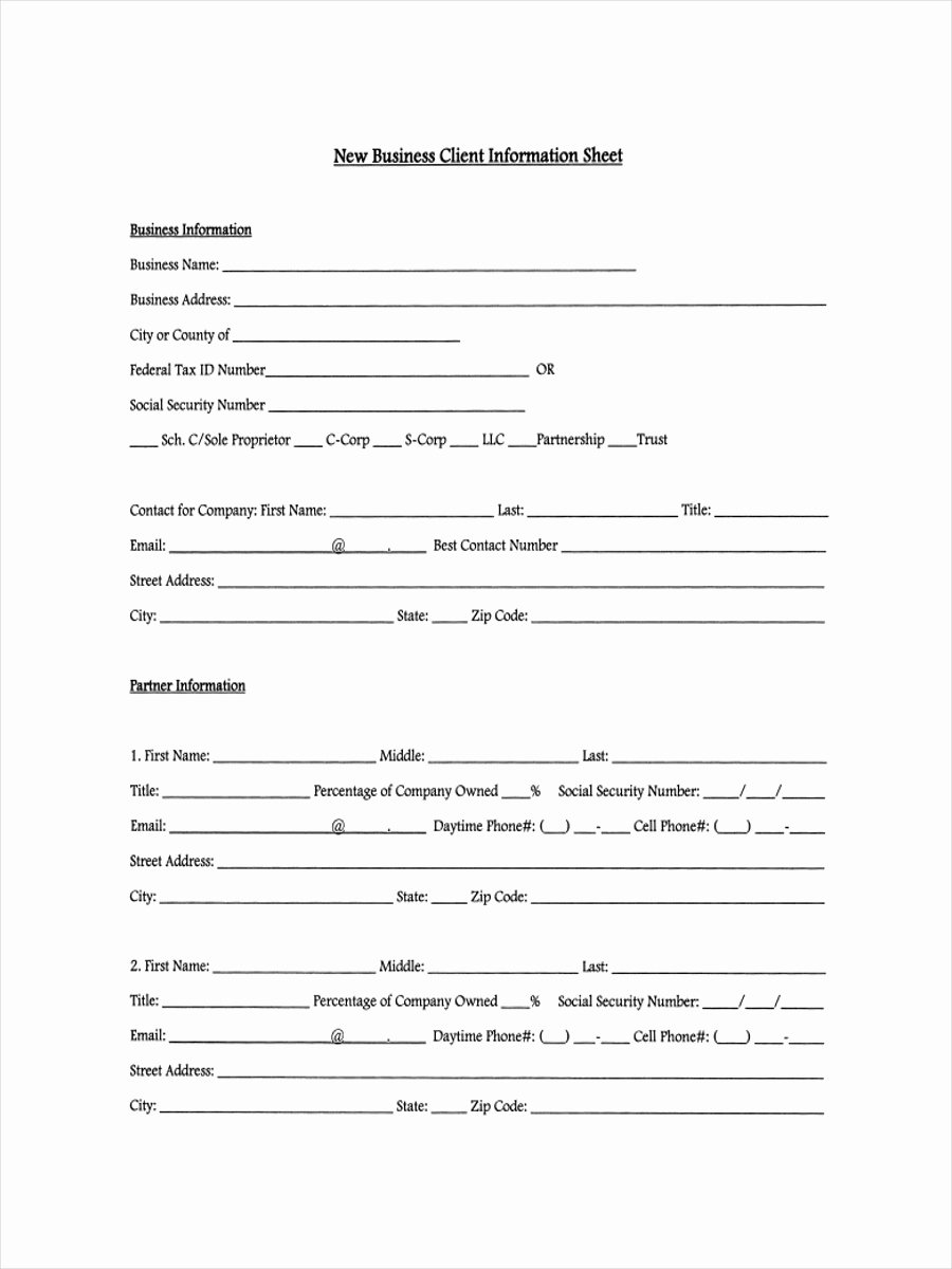 Client Contact form Beautiful 13 Examples Of Client Information Sheets