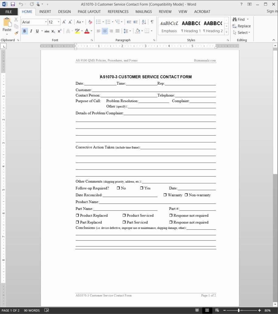 Client Contact form Beautiful Customer Service Contact form