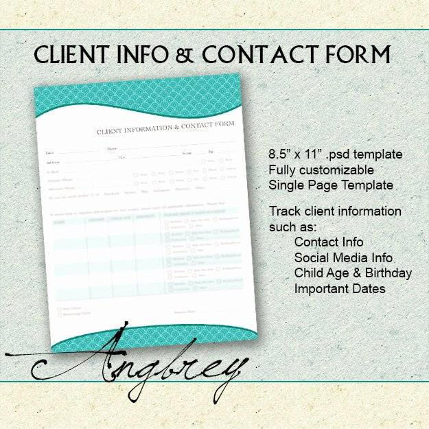 Client Contact form Best Of Client Info & Contact form for Graphers Client