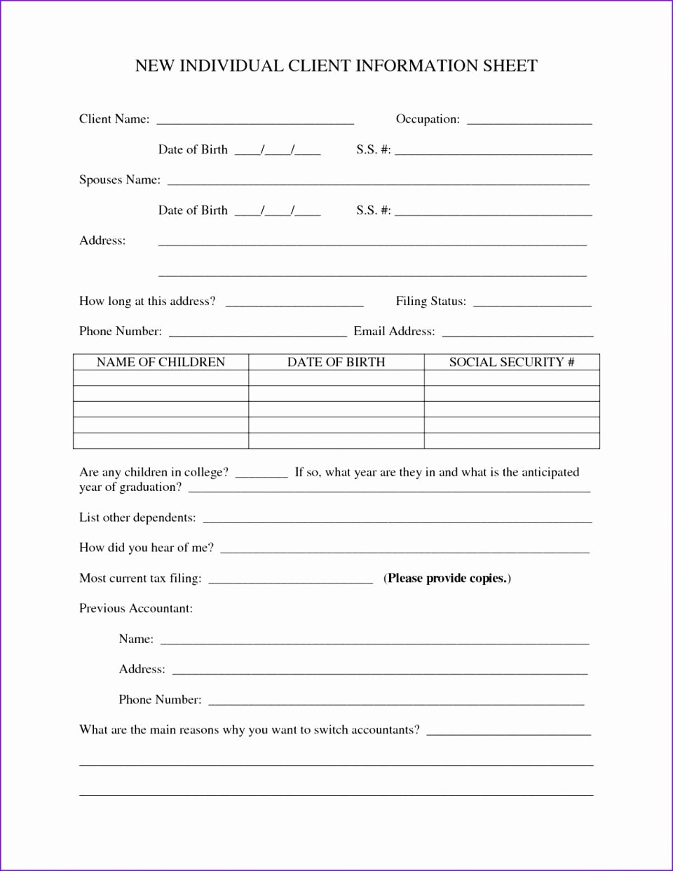 Client Contact form Elegant Client Information Sheet Template Graphy Contact