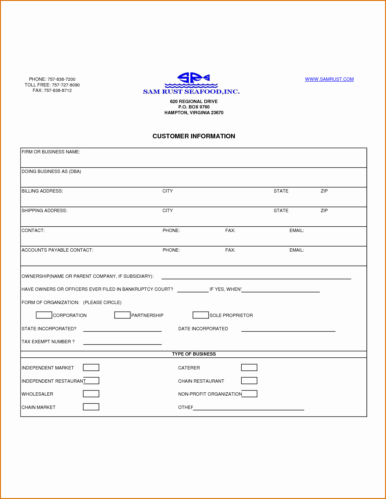 Client Contact form Lovely 13 Customer Information form Template